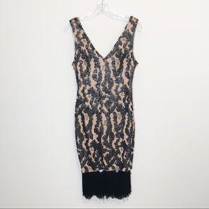 Ark and Co Sequin Fringe Sleeveless Mini Dress M